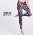 New Women Contrast Color Sport Running Leggings Fitness Geometric Yoga Pants Ladies Slim Legging Sports Tights