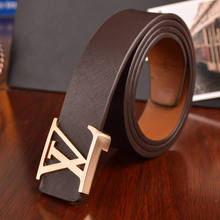 New brand designer mens belt luxury style real leather belts for men metal buckle man Jeans pants genuine leather male strap(China (Mainland))