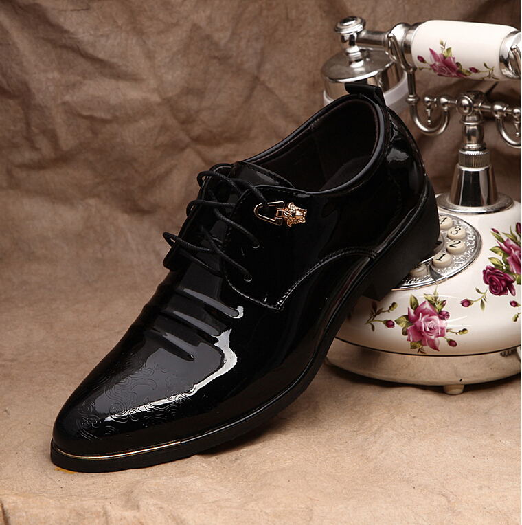 2015 Spring Summer Autumn Fashion Men Dress Shoes Patent Leather Lace-up Business Flat Casual Oxfords - shoe store