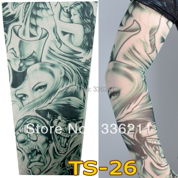 TS-26 elastic Fake temporary tattoo sleeve 3D art designs body Arm leg stockings tatoo men-women retail - BE IN FASHION store