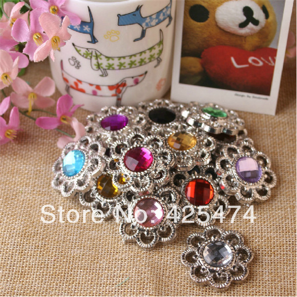 35MM mix colors faceted round acrylic rhinestone paved bronze color plated necklace pendants.50pcs Jewelry vintage settings.(China (Mainland))