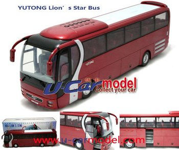 1pcs/lot 1:42 China YuTong  Coach Bus 2002 Lion's star  Die-cast Model Car (Red)