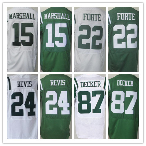 Mens Elite 15 Brandon Marshall 22 Matt Forte24 Darrelle Revis 87 Eric Decker jersey,Best Quality Jersey,White,Green,Size M-XXXL(China (Mainland))