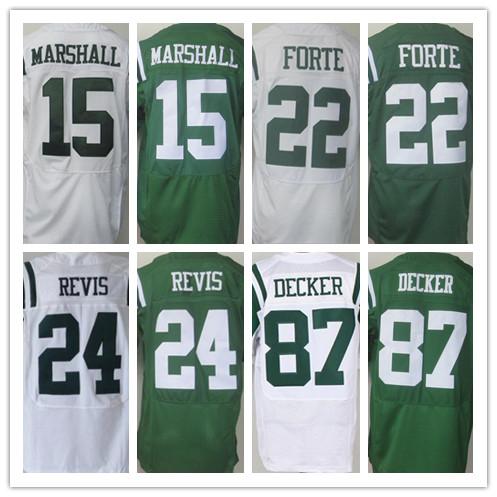 الرجال النخبة 15 براندون مارشال 22 مات Forte24 darrelle revis 87 اريك ديكر جيرسي ، وأفضل نوعية جيرسي ، أبيض والأخضر الحجم M-XXXL(China (Mainland))