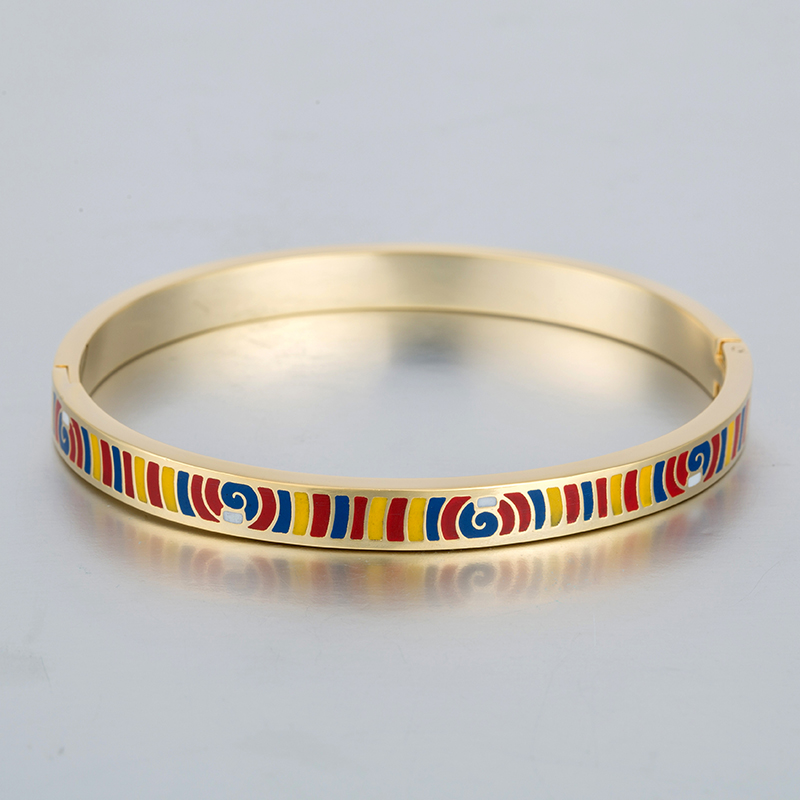 Inspired Art Enamel Bangle Gold Plated Bracelet Vintage Famous Brand Jewelry Stainless Steel Love Bracelets & Bangles For Women(China (Mainland))