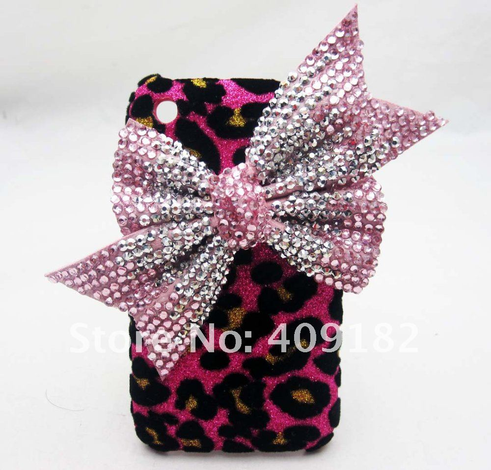 Bling Shiny Fashion Designer Pink Bow Red Leopard Hard Back Cover Case for iPhone 3G 3GS(China (Mainland))