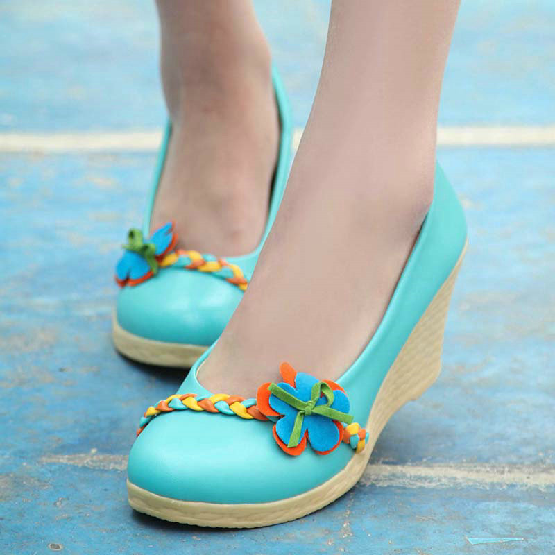 Blue Off White Sky Lace Women Wedding Shoes High Heels