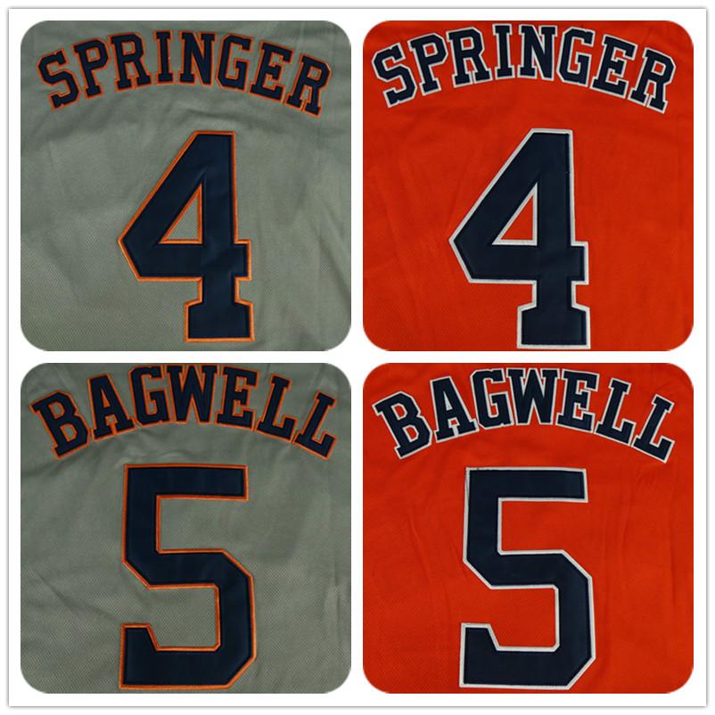 Men's 4 George Springer 5 Jeff Bagwell Color Gray Navy Rainbow Orange Jerseys(China (Mainland))