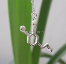 Free shipping 1PCS 925 Silver Hormone Dopamine Molecule Biochemistry Molecule Happiness Signal Pendant Necklace(China (Mainland))