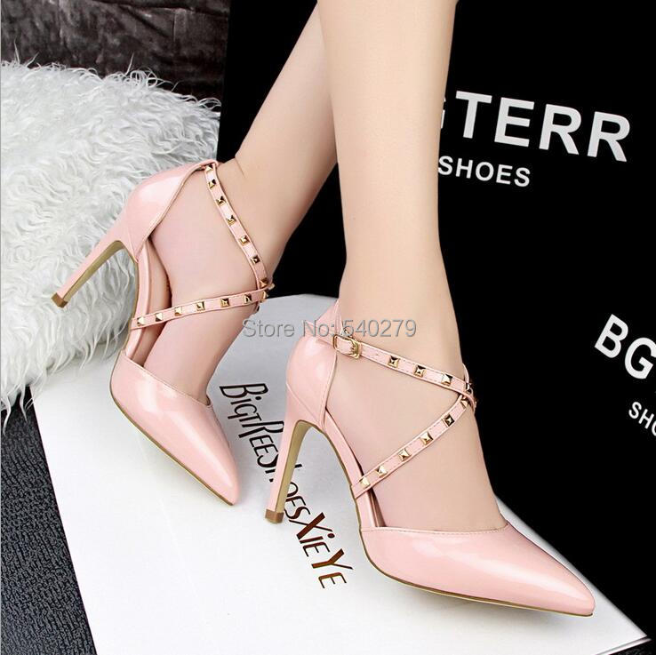 2016 New Brand Pointed Toe Rivets Strappy Pumps Shoes Woman High Heel Shoes Fashion Sexy Women Pumps Ladaies Sandals Dress Shoes(China (Mainland))