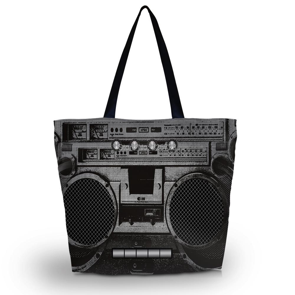 Cool BoomBox Foldable Shopping Bag Womens Girls Zip Soft Shoulder Shopping Bag Tote School Handbag Mom Bag Free