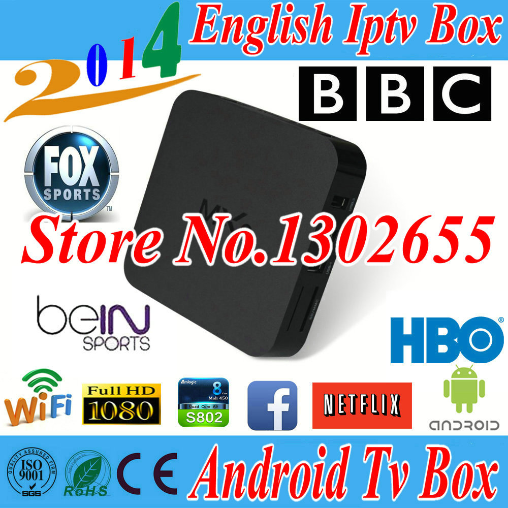 Cheap price Android TV box English America IPTV Box HBO HD Channel account APK Bein sports Media Player 1 year(China (Mainland))
