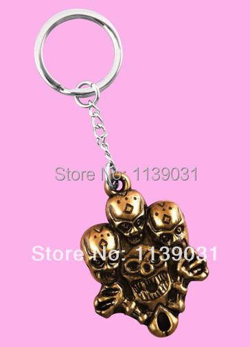 Acrylic pendant Stainless Steel Key Chains Bronze Skeleton Fashion charm Men / Women Cool Key Rings Hot New (K1025)(China (Mainland))