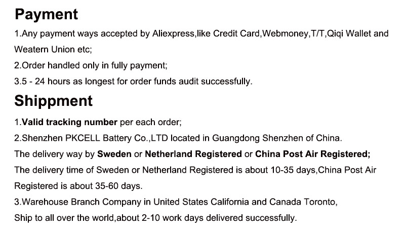 Payment and shippment 1