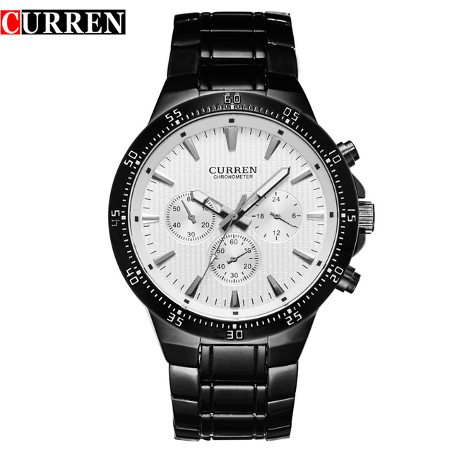 curren men watch black cat stainless steel quartz analog male clock fashion wrist watch band men's hot New with tags 8063(China (Mainland))
