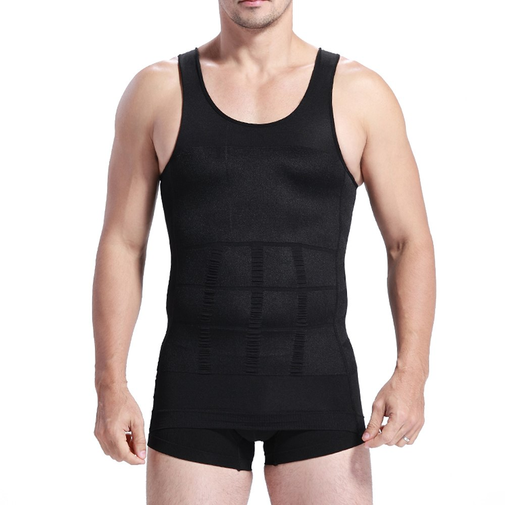 X Ventilation Comfort Men Body Shaper Slimming Vest Chest And Abdomen Tight Waist Breathable Underwear Black White Plus Size