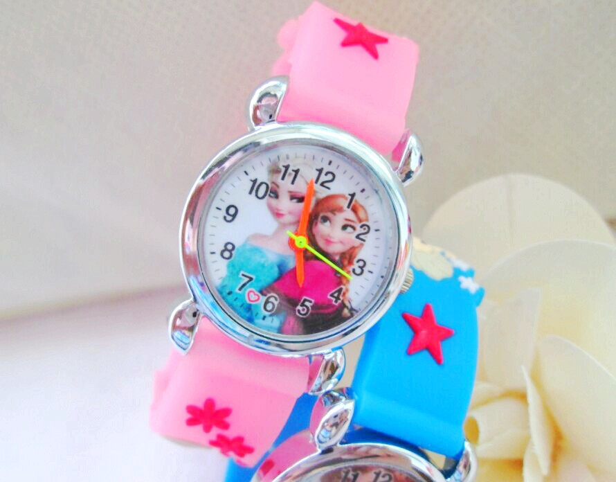 2016 Infantil Reloj Snow Queen Princess elsa anna Cartoon Watch 3D Children Kids Quartz Wristwatches Clock