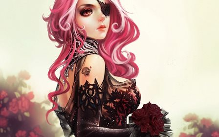Gothic Glance Pink color Hair Fantasy Girls roses flowers cleavages redhead face eyes sexy babes Home Decoration Canvas Poster
