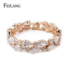 FEILANG White/Rose/18K Gold Plated Fashion Design Green Mona Lisa CZ Zirconia Diamond Bracelet Bangle For Women (FSBP004)(China (Mainland))