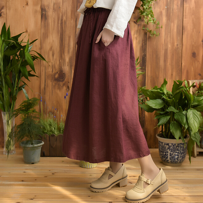 Wild drawstring elastic waist skirts solid color simple literary long linen skirt mori girlОдежда и ак�е��уары<br><br><br>Aliexpress
