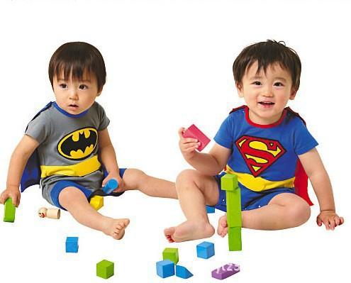 baby 100% cotton short-sleeve superman batman style romper jumpsuit Cape mantle/kids clothing summer - kai store