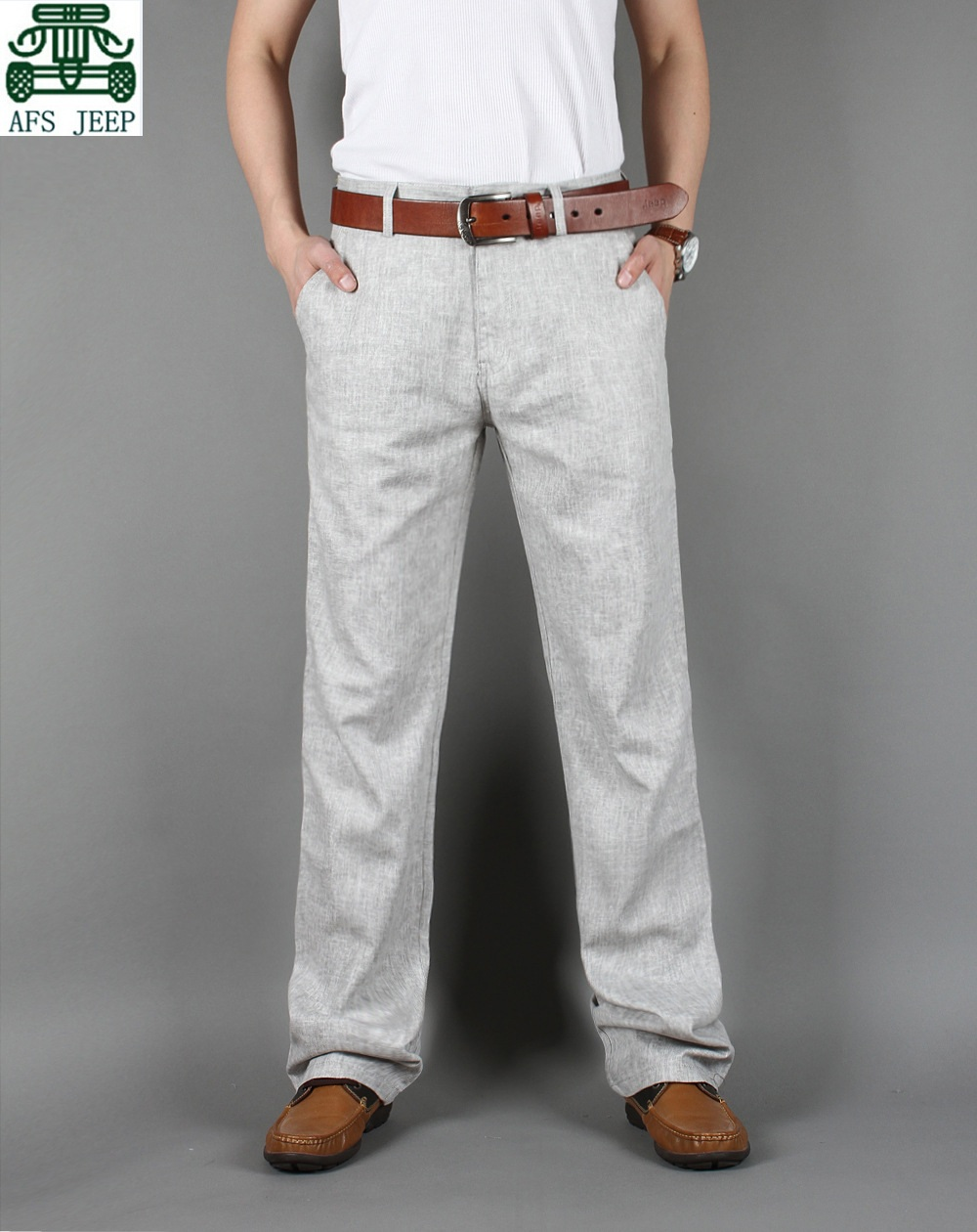 AFS JEEP New Arrival Mans Light Gray/Dark Gray Linen Style Summer Loose Mens Breathe Casual Big Size Pants Одежда и ак�е��уары<br><br><br>Aliexpress