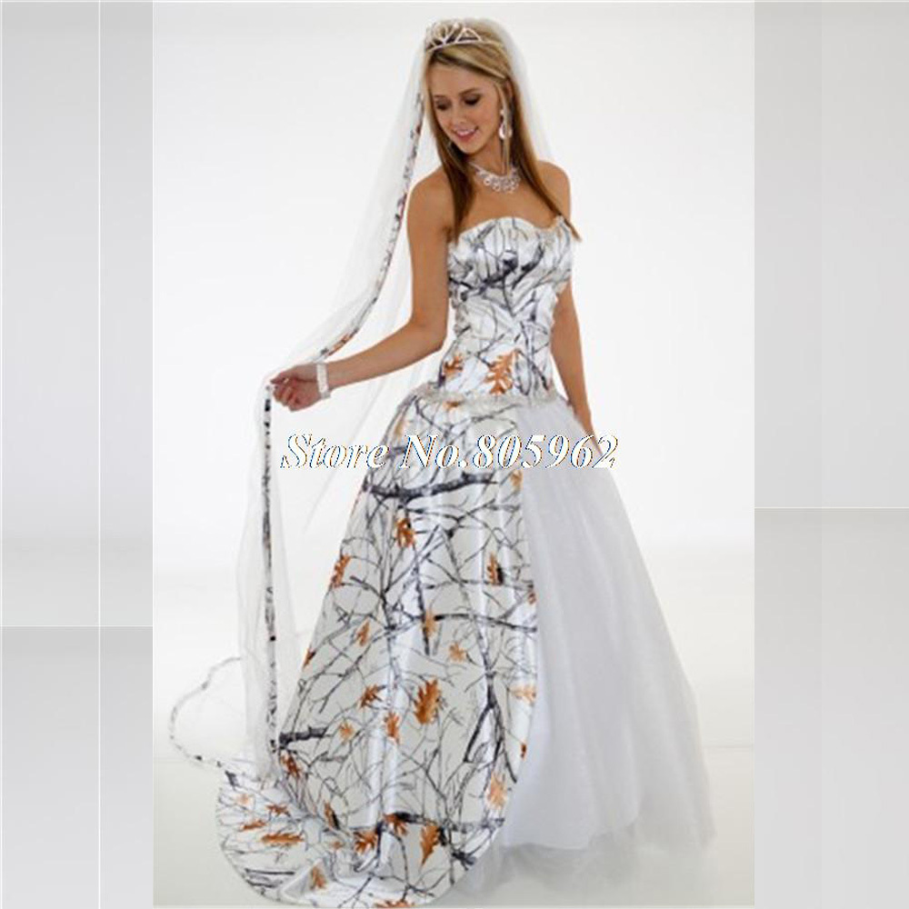 2015 white camo wedding dresses with train ball gown
