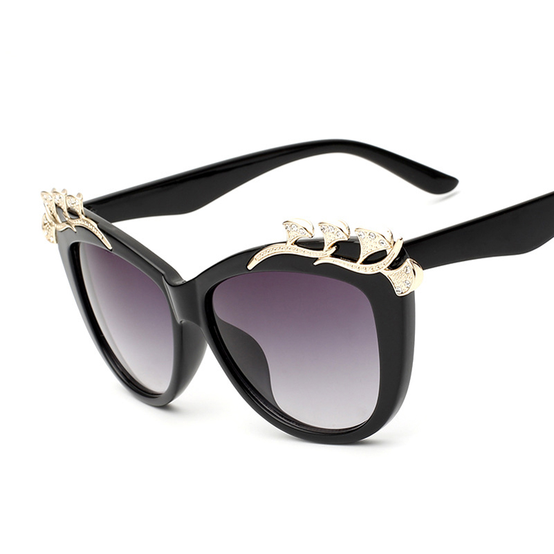 Big Frame Sunglasses : Diamond Eyebrow Cat eye Sunglasses Women Pattern Retro ...