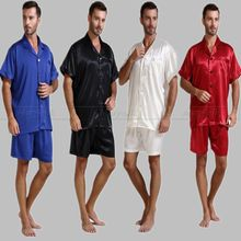 Summer Mens Silk Satin Pajamas Set Pajama Pyjamas PJS Sleepwear U.S.S,M,L,XL,2XL,3XL Short Sleeves Solid(China (Mainland))