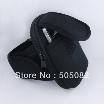 Universal Black zippered sport Armband Pouch Case holder for cell phone MP3 MP4 key Samsing i9100 13.5x8.5x3cm
