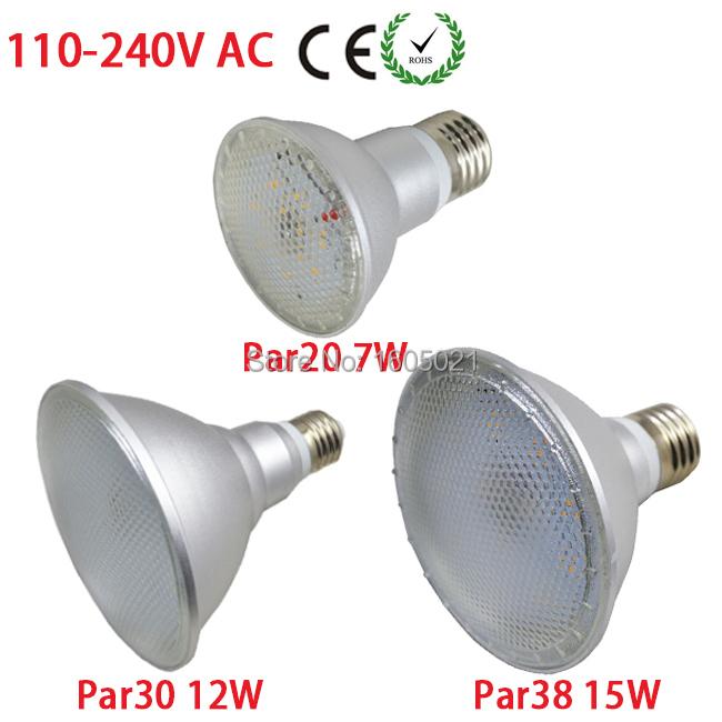High Quality LED Bulb Par20 7W/Par30 12W/Par38 15W LED Spotlight Lens Lamp E27 110V-240V for Meeting Room(China (Mainland))