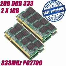 2G 2 GB 2X1 GB 333 MHz DDR 333 200pin PC2700 SODIMM Laptop Notebook Speicher RAMs + freies Verschiffen(China (Mainland))