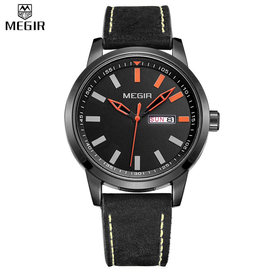 MEGIR Army Luxury Brand Date Day Display Relogio Masculino Leather Strap Clock Analog Quartz Men Military Sport Watch /1064G-3<br><br>Aliexpress