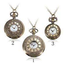 Buy New Arrive Steampunk Vintage Hollow Roma Bronze Necklace Chain PocketWatch Pendant Men's Women Gift Quartz Watch for $3.76 in AliExpress store