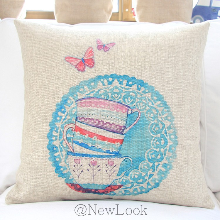 teacup cotton linen decorative throw pillows decorate for a sofa cushion cover pillow cover case. Black Bedroom Furniture Sets. Home Design Ideas