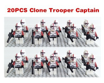 100pcs/lot New SY195 StarWars white clone troopers soldier with red arm minifigures building block bricks kids education toys(China (Mainland))