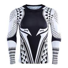 Aquaman 3D печатных футболки обтягивающая мужская кофта 2018 Новейший Персонаж косплей костюм топы с длинными рукавами для мужчин фитнес ткань(China)