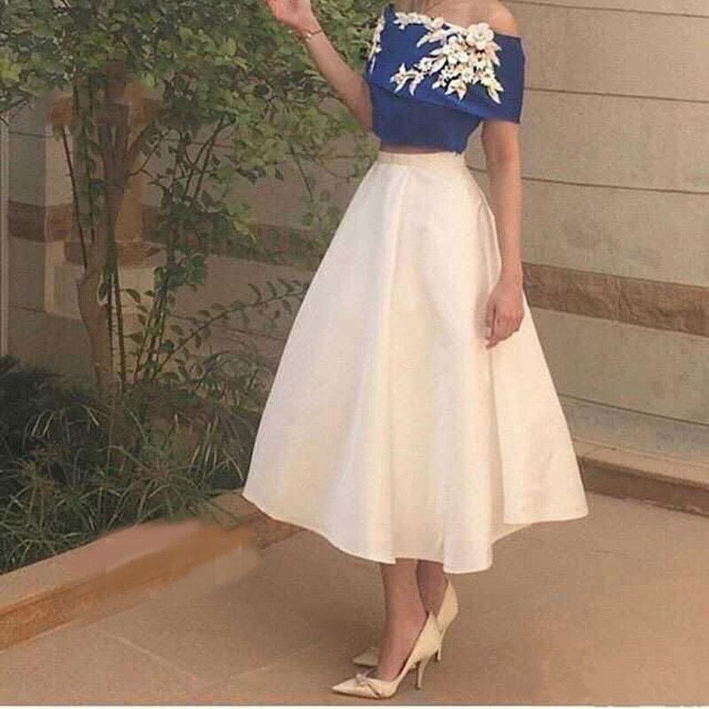 Charming White Blue Off Shoulder Two Pieces Fashion A-line Tea Length Cocktail Dress Girls Formal Party Gown Custom Made S440(China (Mainland))