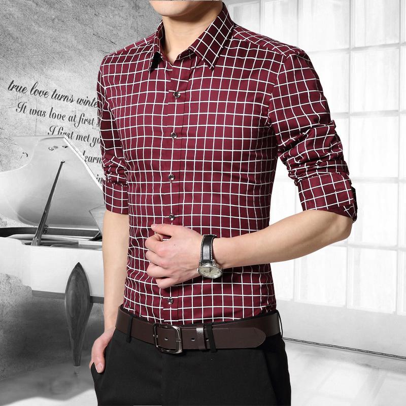 Fashion Style font b Plaid b font Regular Long Sleeve Men Shirts Casual Turn down Collar