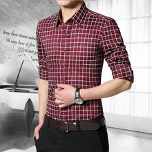 Fashion Style Plaid Regular Long Sleeve Men Shirts Casual Turn-down Collar Slim Fit Cotton Shirt Homme Plus Size M-5XL 2205