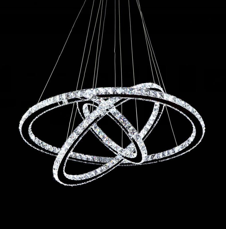 Modern Chrome Chandelier Diamond Ring LED Crystal