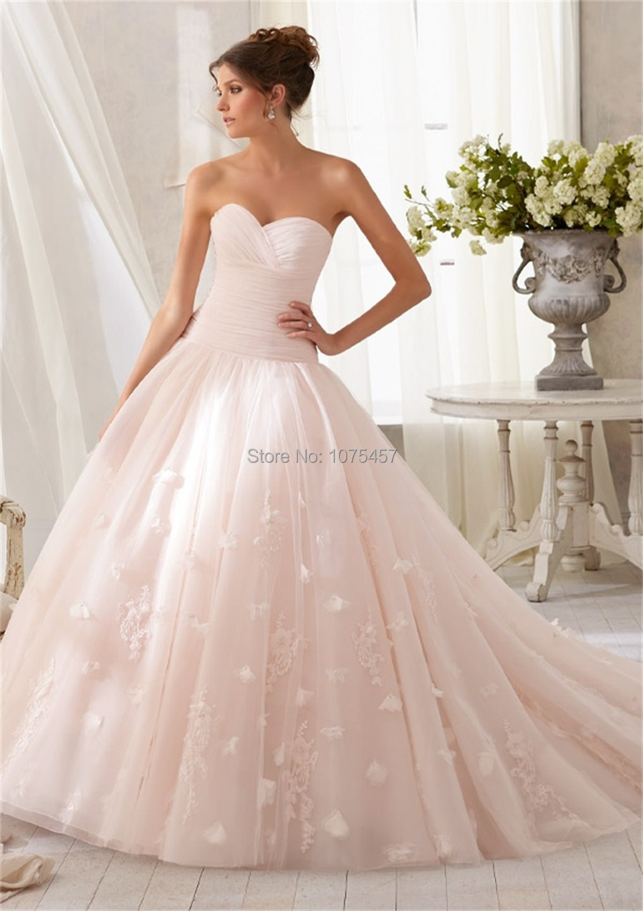 Blush Wedding Dress 1402 : Blush pink wedding dress sweetheart appliques china bridal gowns