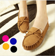 New Trendy Casual Flat Heel Shoes Bow Knot Round Toe Candy Color Loafer Shoes Autumn Comfortable Women Shoes Free ship 122(China (Mainland))