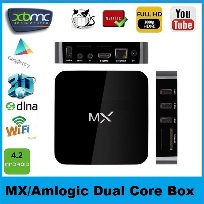 MX TV Box MX2 Midnight Dual Core Android 4.2 XBMC Kodi Media Player Amlogic 8726 Cortex A9 Stream Movies Miracast 1pcs(China (Mainland))