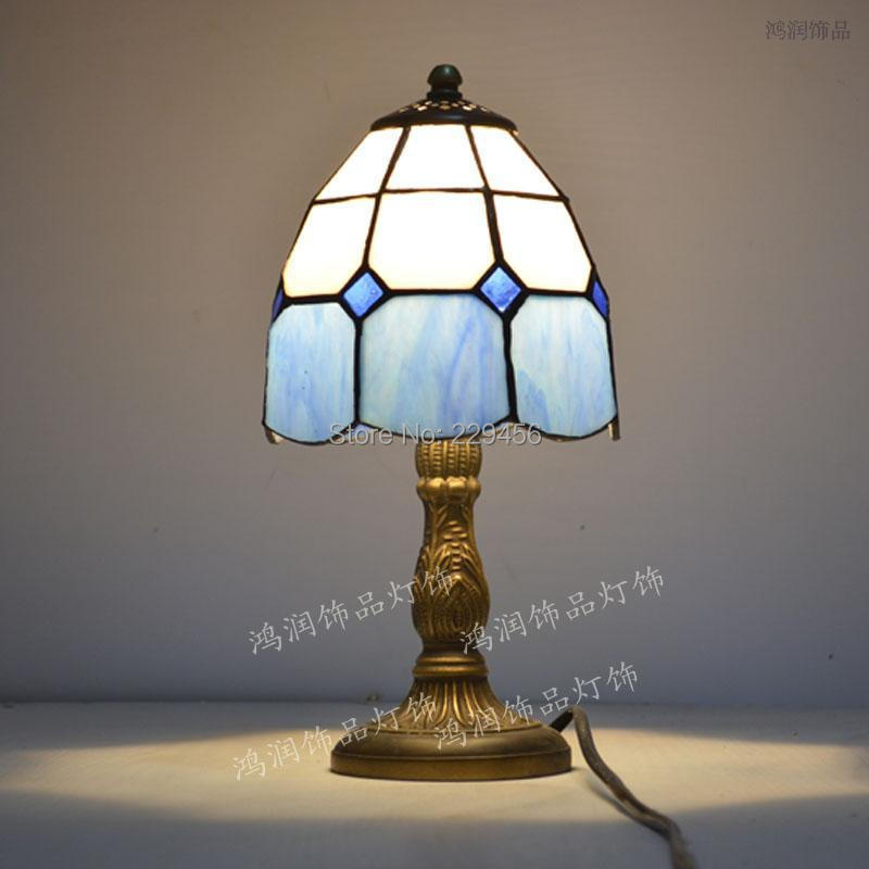 tiffany small table lamp stained glass mediterranean sea style bedroom. Black Bedroom Furniture Sets. Home Design Ideas