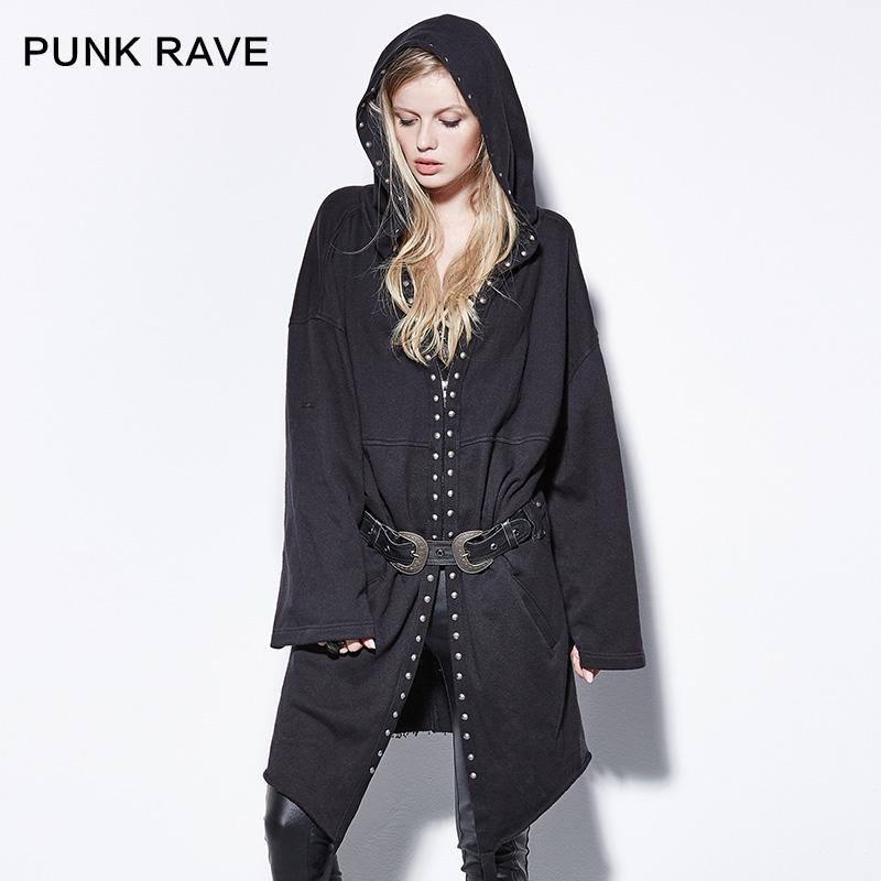 Punk Rave Punk Rivet Lacing Medium-long Patchwork with a Hood Outerwear FemaleÎäåæäà è àêñåññóàðû<br><br>