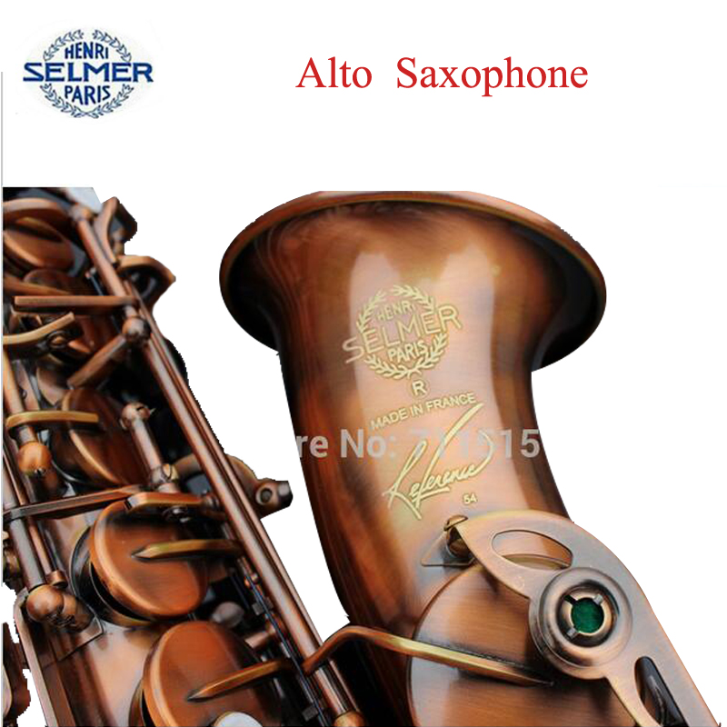 French Selmer 54 E Flat Alto Saxophone Eb Top Musical Instrument Saxe Plated Gold Process Sax Professional Red Bronze - sax lovers store