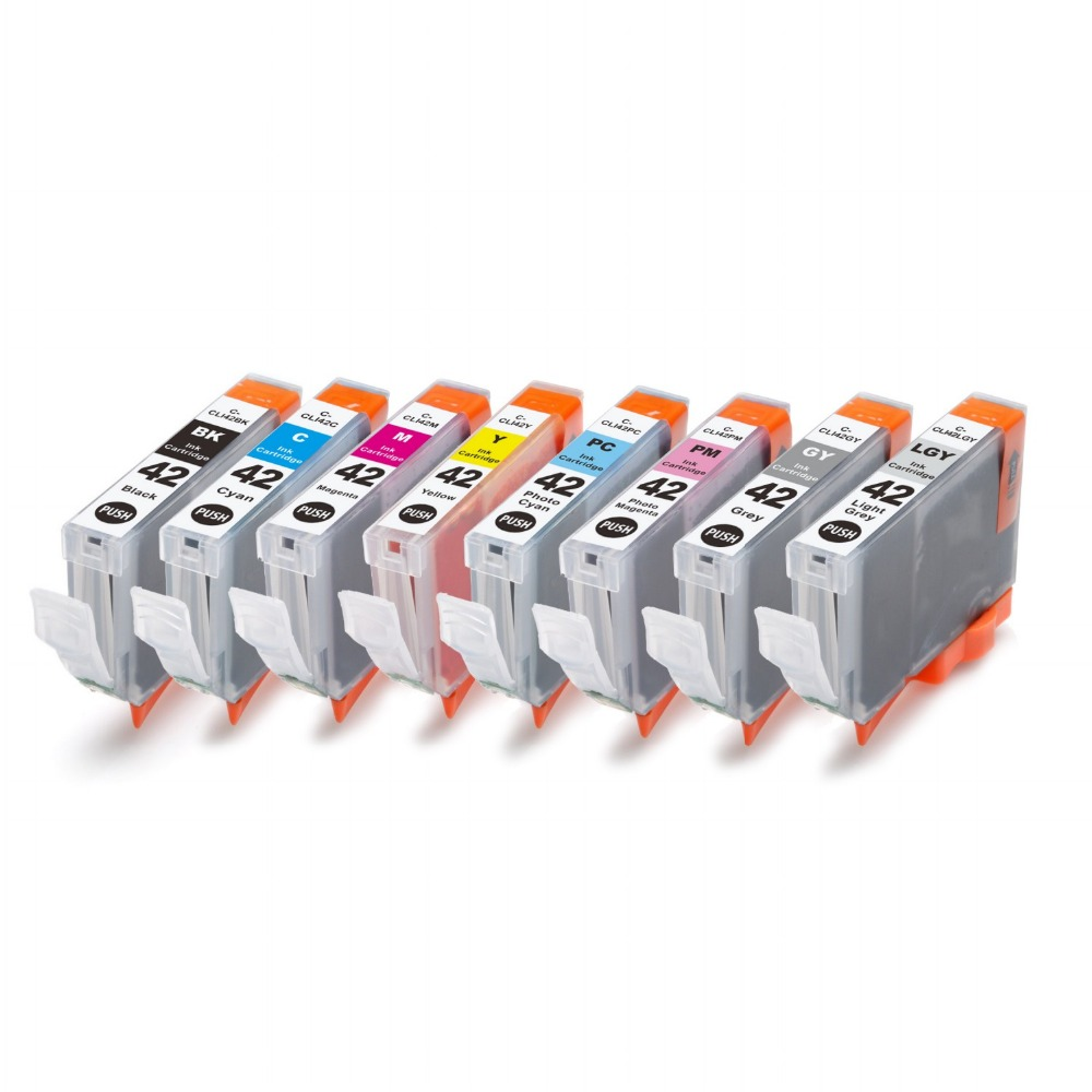 Full ink 8 PCS  ink Cartridge For Canon CLI-42 CLI 42 CLI42 Printer for Canon Pixma Pro-10 With chip<br><br>Aliexpress