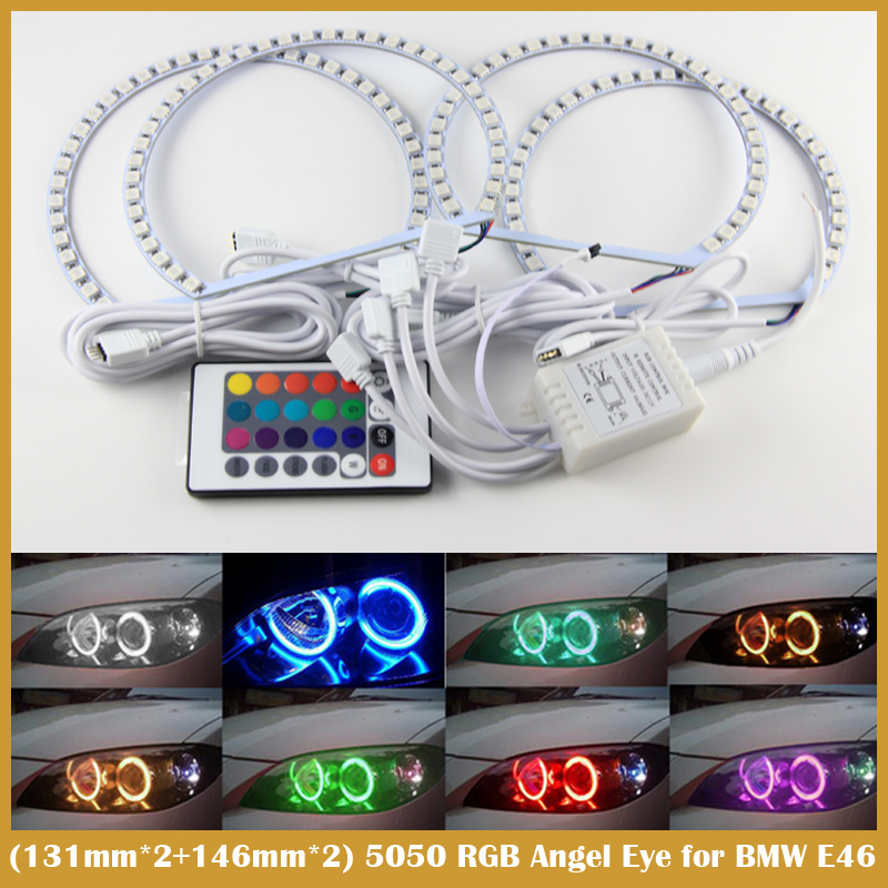 2x 131MM 2x 146MM Multi-Color 5050 RGB LED Angel Eyes Halo Ring remote control For BMW E36 E38 E39 E46(China (Mainland))