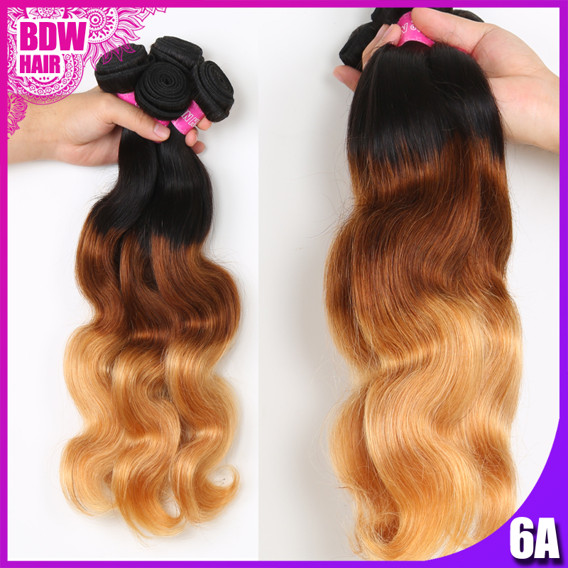 Peruvian Virgin Hair Body Wave 3 Tone Ombre Hair Extensions 4 Bundles Unprocessed Peruvian Body Wave Human Hair Weave(China (Mainland))